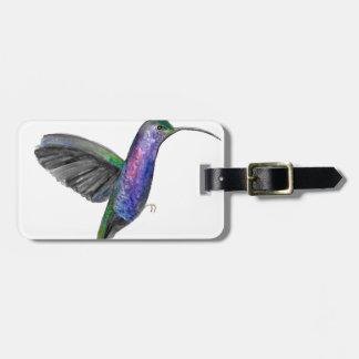 Purple hummingbird watercolour luggage tag