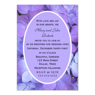 "Purple Hydrangea Blossoms Vow Renewal 5"" X 7"" Invitation Card"