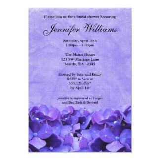 """Purple Hydrangea Bridal Shower Invitation 5"""" X 7"""" Invitation Card"""