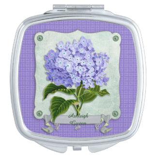 Purple Hydrangea Green Paper Ribbon Square Cutouts Travel Mirror