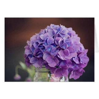 Purple Hydrangea in Mason Jar Photograph Card