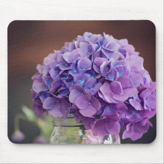 Purple Hydrangea in Mason Jar Photograph Mouse Pad