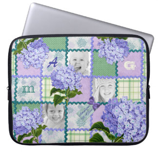 Purple Hydrangea Instagram Photo Quilt Collage Laptop Sleeve