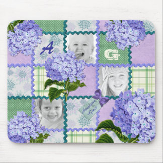 Purple Hydrangea Instagram Photo Quilt Collage Mouse Pad
