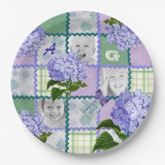 Purple Hydrangea Instagram Photo Quilt Collage Paper Plate