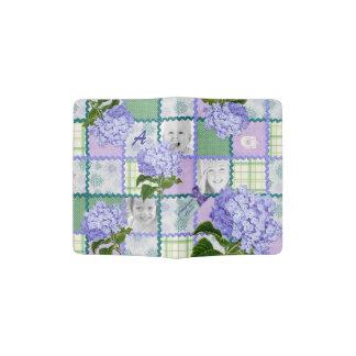 Purple Hydrangea Instagram Photo Quilt Collage Passport Holder