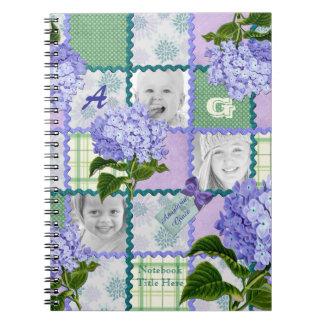 Purple Hydrangea Instagram Photo Quilt Collage Spiral Notebook