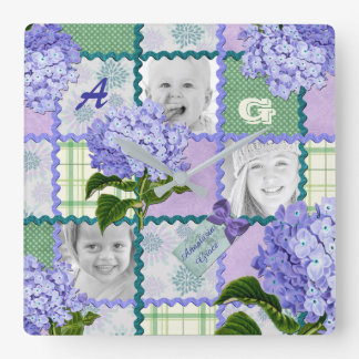 Purple Hydrangea Instagram Photo Quilt Collage Square Wall Clock