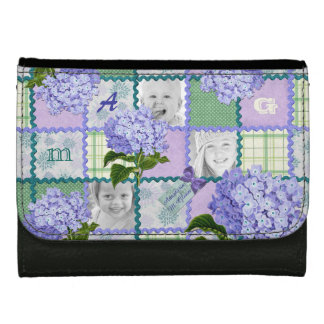 Purple Hydrangea Instagram Photo Quilt Collage Women's Wallets