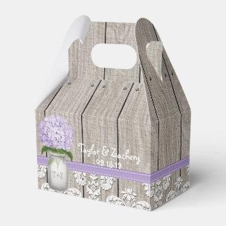 Purple Hydrangea Mason Jar Wedding Favor Gift Box