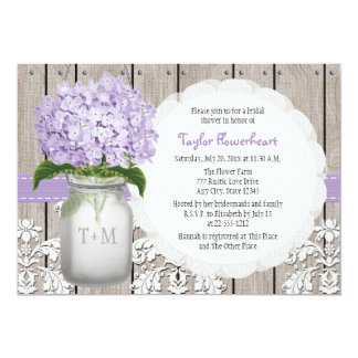 "Purple Hydrangea Monogram Mason Jar Bridal Shower 5"" X 7"" Invitation Card"