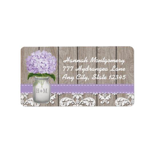 Purple Hydrangea Monogrammed Mason Jar