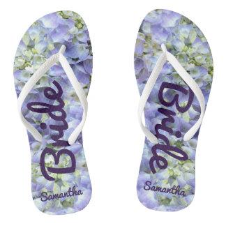 Purple Hydrangea Personalized Bride Flip Flops