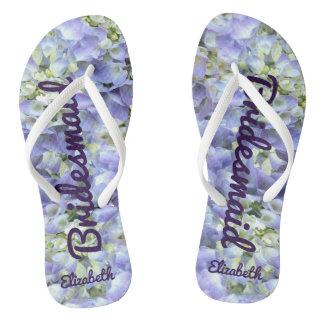 Purple Hydrangea Personalized Bridesmaid Flip Flops