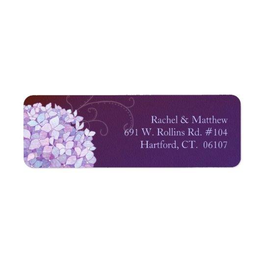Purple Hydrangea Plum Wedding Return Address Label
