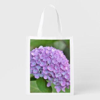 Purple hydrangea reusable grocery bag