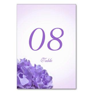 Purple Hydrangea Sea Shell Table Number Card