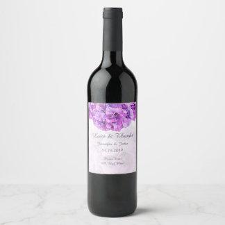 Purple Hydrangea Wedding Collection Wine Label