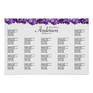 Purple Hydrangea Wedding Reception Seating Chart
