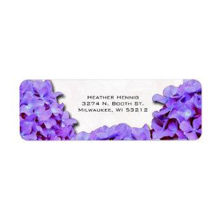 Purple Hydrangea Wedding Return Address Return Address Label