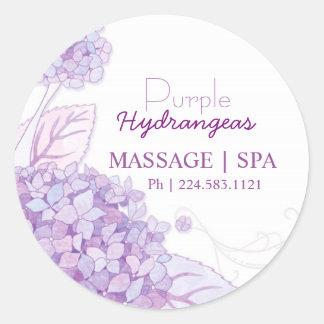Purple Hydrangeas Business Promotional Classic Round Sticker