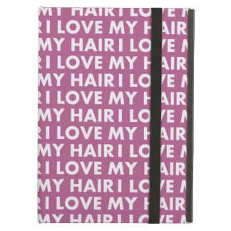 Purple I Love My Hair Bold Text Cutout Cover For iPad Air