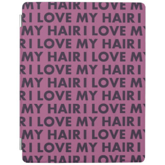 Purple I Love My Hair Bold Text Cutout iPad Cover
