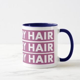 Purple I Love My Hair Bold Text Cutout Mug