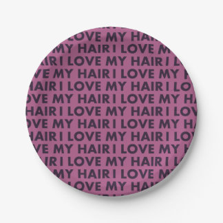 Purple I Love My Hair Bold Text Cutout Paper Plate