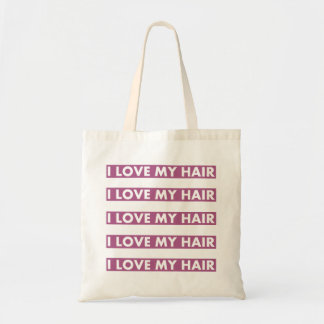 Purple I Love My Hair Bold Text Cutout Tote Bag
