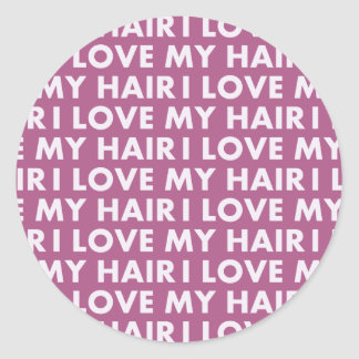 Purple I Love My Hair Text Cutout Classic Round Sticker