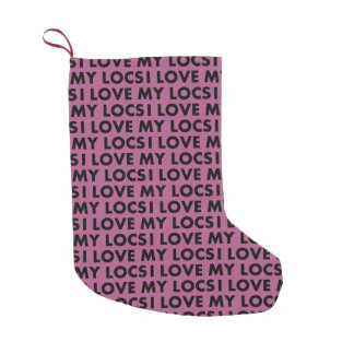 Purple I Love My Locs Text Cutout Small Christmas Stocking