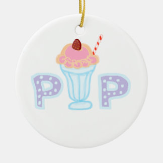 Purple Ice Cream Pop Round Ceramic Ornament