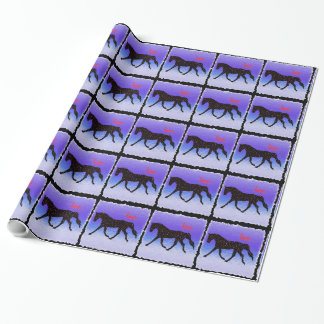 Purple Ice Horse, Hearts and Love Wrapping Paper