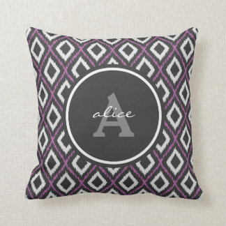 Purple Ikat Monogram Throw Pillow