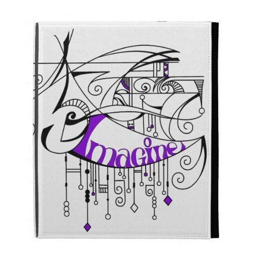 Purple Imagine In Lines and Dangles iPad Folio Covers