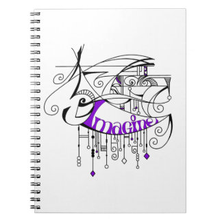 Purple Imagine In Lines and Dangles Spiral Note Book