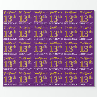 """Purple, Imitation Gold Look """"13th BIRTHDAY"""" Wrapping Paper"""
