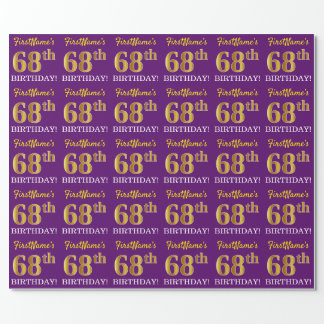 """Purple, Imitation Gold Look """"68th BIRTHDAY"""" Wrapping Paper"""