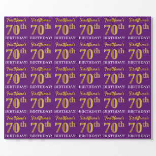 Purple Imitation Gold Look 70th BIRTHDAY Wrapping Paper