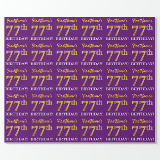 """Purple, Imitation Gold Look """"77th BIRTHDAY"""" Wrapping Paper"""
