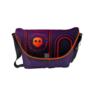 Purple Industrial Cyber Goth Robot Futuristic Courier Bags