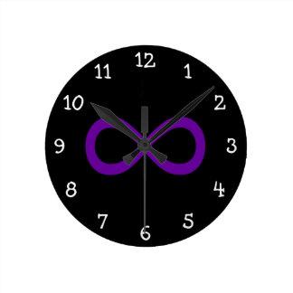 Purple Infinity Symbol Round Clock
