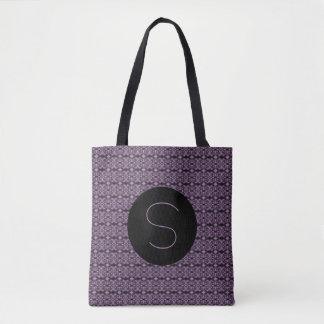 Purple Initial Damask Pattern (customizable) Tote Bag