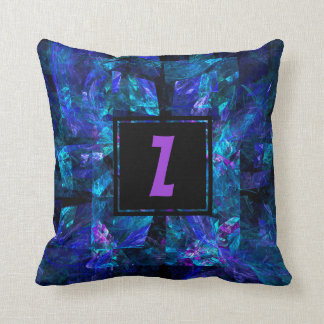 Purple Initial Letter Monogram Over Shades of Blue Throw Pillow