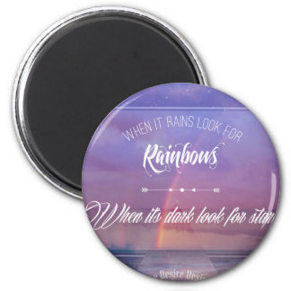 Purple Inspirational rainbow & stars quote 2 Inch Round Magnet