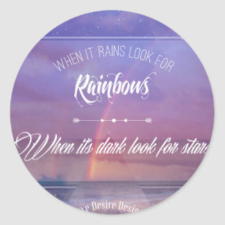 Purple Inspirational rainbow & stars quote Classic Round Sticker