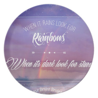 Purple Inspirational rainbow & stars quote Plate