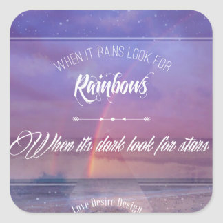 Purple Inspirational rainbow & stars quote Square Sticker