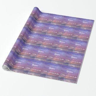 Purple Inspirational rainbow & stars quote Wrapping Paper